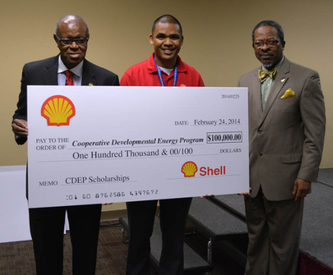 A $100,000 check that the Shell Corp. donated to CDEP.