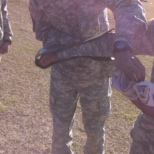 The Fort Valley State University Military Science Army ROTC conducted their weekly lab on First Aid on 18 Feb 16. This picture shows C/SFC Blake and C/CPL Bush Use the talk through method to show cadets the proper way to apply a splint
