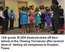 MSEA students show off thier talents at the closing ceremony after several days of visiting oil companies in Houston.