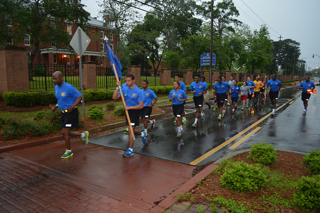 FVSU ROTC students participate in 5k walk/run down State University Avenue to raise awareness about sexual assault.