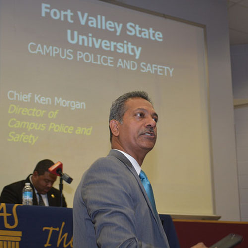 Dr. Uppinder Mehan at the 2015 Police and Race forum.