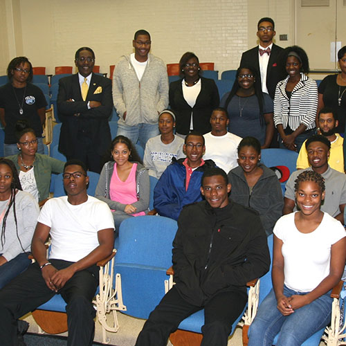 Students at a graduate opportunities conference on FVSU's campus.