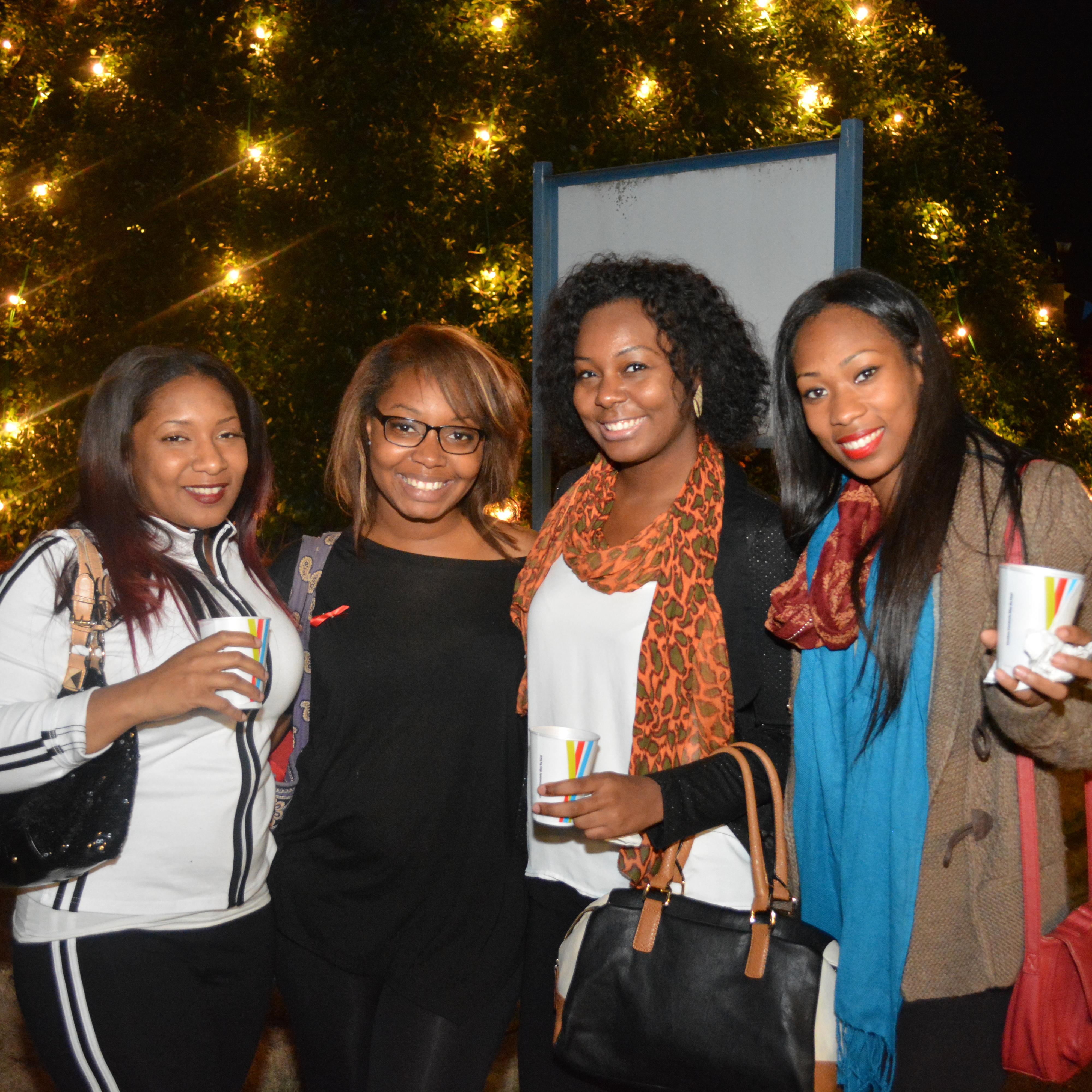 Students at FVSU Christmas tree lighting.