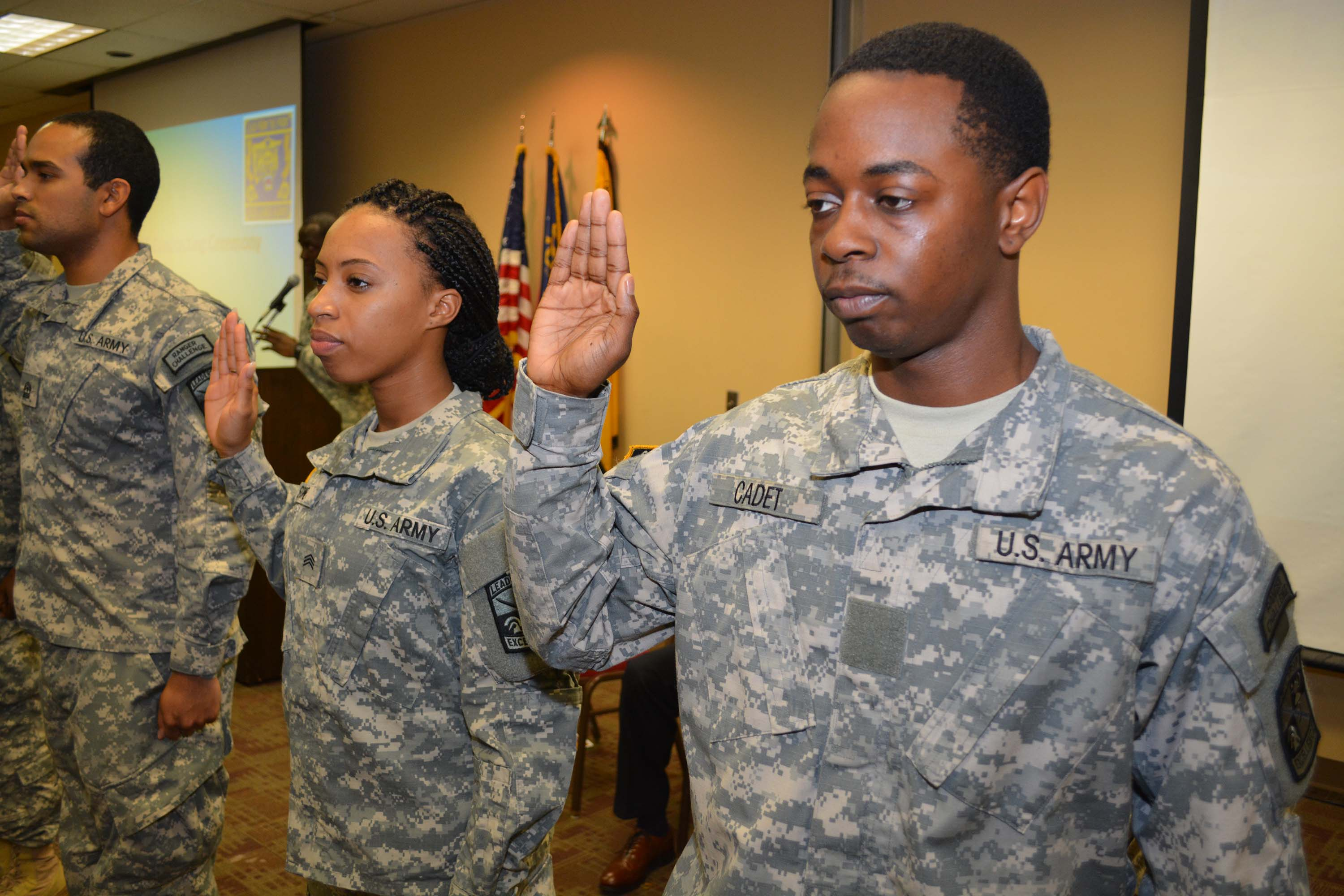 ROTC students at a contracting ceremony