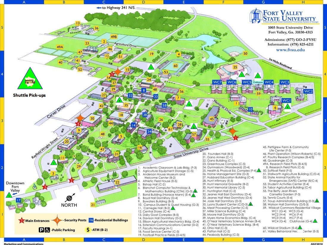 FVSU Campus Map - Shuttle Points marked