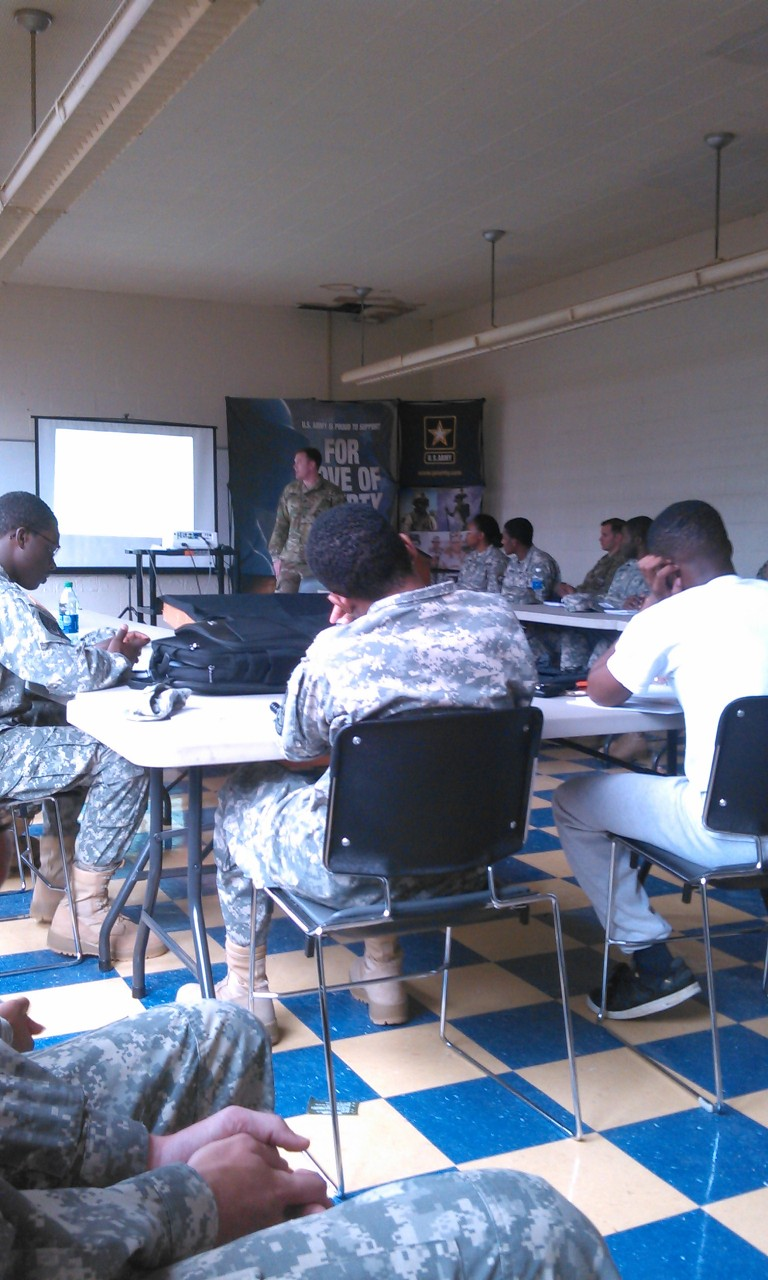 ROTC students attend classroom training session.