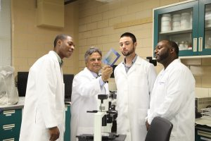 Dr. Dhir meets with others in the lab.