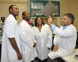 FVSU instructor Dr. Sarma Dhir holds biotechnology discussions.