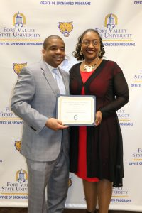 FVSU Provost T. Ramon Stuart, Ph.D. and instructor Juone Brown.